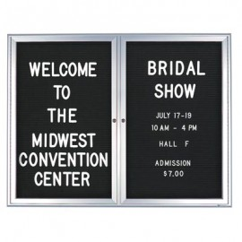 "60 x 36"" Double Door Standard Indoor Enclosed Letterboard with Radius Frame"
