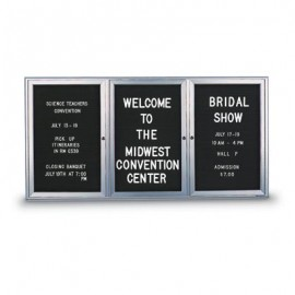 "72 x 48"" Triple Door Standard Indoor Enclosed Letterboard with Radius Frame"