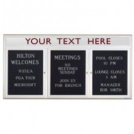 "72 x 36"" Triple Door Standard Indoor Enclosed Letterboard with Radius Frame w/ Header"