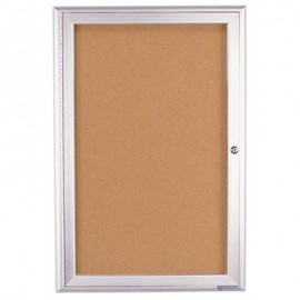 "18 x 24"" Single Door Illuminated 4"" Radius Frame Enclosed Corkboard"