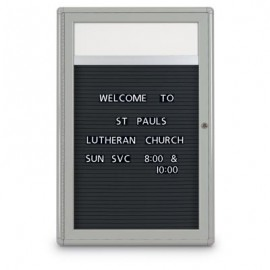 "24 x 36"" Single Door Outdoor Enclosed Letterboard with Radius Frame w/ Header"