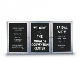"72 x 36"" Triple Door Outdoor Enclosed Letterboard with Radius Frame"