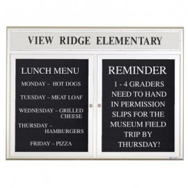"""48 x 36"""" Double Door Outdoor Enclosed Letterboard with Radius Frame w/ Header"""