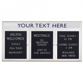 "72 x 36"" Triple Door Outdoor Enclosed Letterboard with Radius Frame w/ Header"