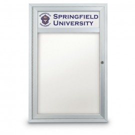 "24 x 36"" Single Door Outdoor Enclosed Dry/Wet Erase Board w/ Header"