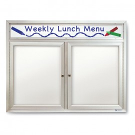 "60 x 36"" Double Door Outdoor Enclosed Dry/Wet Erase Board w/ Header"