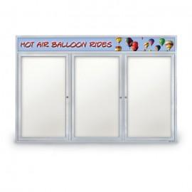 "72 x 48"" Triple Door Outdoor Enclosed Dry/Wet Erase Board w/ Header"