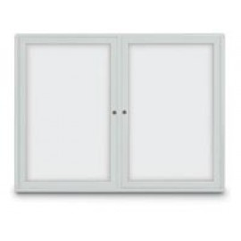 "60 x 36"" Double Door Standard Radius Indoor Standard Radius Enclosed Dry/Wet Erase Board"