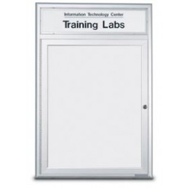 "18 x 24"" Single Door Standard Radius Frame Indoor Enclosed Dry/Wet Erase Board w/ Header"