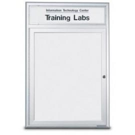 """96 x 48"""" Triple Door Standard Radius Frame Indoor Enclosed Dry/Wet Erase Board w/ Header"""