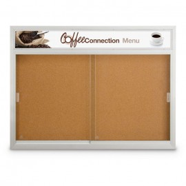 "48 x 36"" Sliding Glass Door Corkboards with Traditional Frame w/ Illuminated Header"