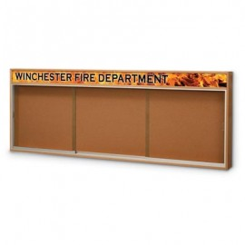 "96 x 36"" Standard Wood Sliding Door Corkboards w/ Illuminated Header"