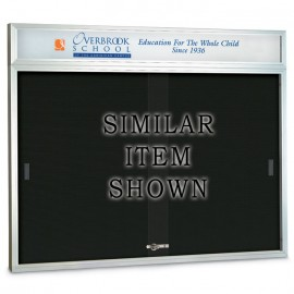 "72 x 48"" Sliding Glass Door Enclosed Letterboard W/ Header"