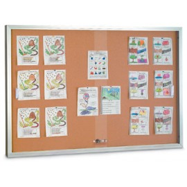 "48 x 36"" Sliding Glass Door Corkboards with Traditional Frame"