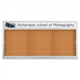 "96 x 48"" Sliding Glass Door Corkboards with Traditional Frame w/ Illuminated Header"