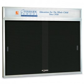 "96 x 36"" Sliding Glass Door Enclosed Letterboard W/ Header"