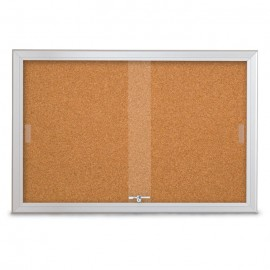 "36 x 24"" Sliding Glass Corkboards with Radius Frame"