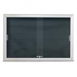 "96 x 48"" Radius Sliding Glass Door Enclosed Letterboard"