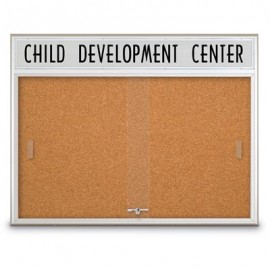 "60 x 36"" Sliding Glass Corkboards with Radius Frame w/ Illuminated Header"