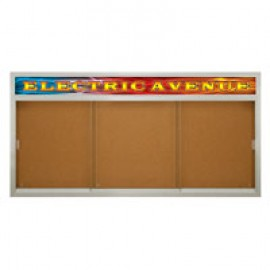 "96 x 48"" Sliding Glass Corkboards with Radius Frame w/ Illuminated Header"