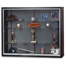 "48 x 36"" x 8"" Black Laminate Wood Framed Display Cases"