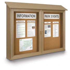 "52 x 40"" Double Door Enclosed Cork Message Center"