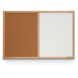 "24 x 18"" Hard Wood Framed Dry Erase and Cork Combo Board"
