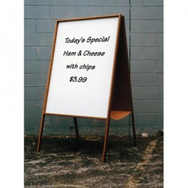 "22 x 38"" x 1/2"" Light Oak Dry Erase Sandwich Board"
