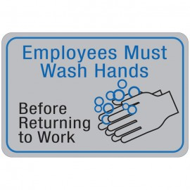 Employess Must Wash Hands Before Returning to Work Facility Sign