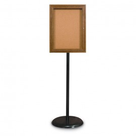 Black Base/ Wood Frame Pedestal Corkboard