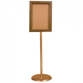 Gold Base/ Wood Frame Pedestal Corkboard
