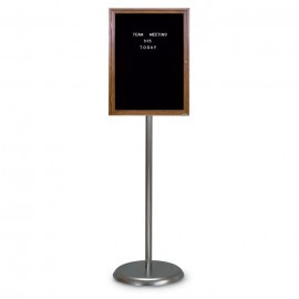 Chrome Base/ Wood Frame Pedestal Letterboard
