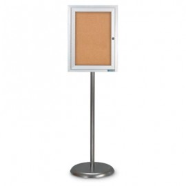 Chrome Base/ Satin Frame Pedestal Corkboard